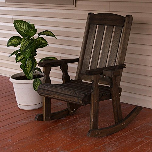 Amish Heavy Duty 600 Lb Mission Pressure Treated Rocking Chair With  Cupholders (Dark Walnut Stain)