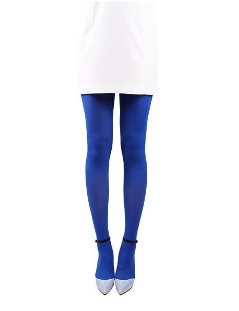 ba7dbb3dd 10STAR11 Women s 80 Denier Light Weight Reinforced Toe Silky Pantyhose  Tights Blue