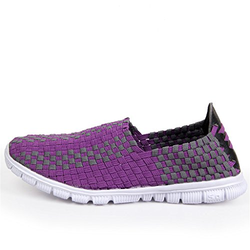 Purple Elastic Yuanli Woven Flats Shoes Women's pYqTXPT0