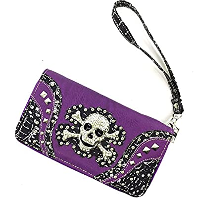 Justin West Fashion Floral Embroidery Rhinestone Skull Shoulder Concealed Carry Handbag Purse
