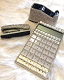 TISHAA Bling Bling Luxury Diamond Crystal Rhinestone Office, School Supply Gift 3 Piece Set-Stapler, Calculator, Tape Dispenser (White Set -A)