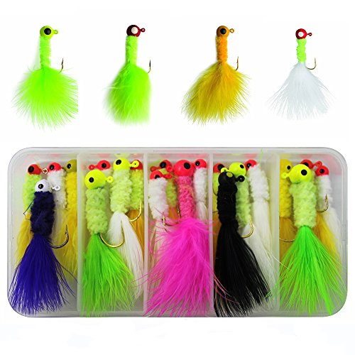 RG 24pcs/box Mixed Colors Fishing Crappie Jigs Lures Kit Fishing Lead Head Hook with Feather Marabou Chenille for Bass Pike Walleye Ice Fly Fishing