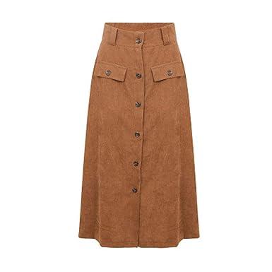 cd45d5c3c JUNBOON Women's High Waist A-line Skirt Front Button Long Maxi Skirt with  Pockets Coffee