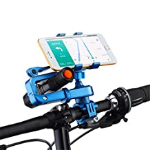 Bike Mount Bicycle Handlebar Phone Holder 360 Degrees Rotatable Universal Smartphone Cradle Clamp adjustable Bracket with Silicone You can install Flashlight GPS (For BLUe)