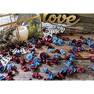Wedding Table Decorations for Reception, Table Scatter Decorations, Dusty Blue and Burgundy Flower Confetti 15