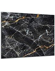 QTA Kookplaat afdekplaat 60 x 52 eendelig glas elektrisch fornuis inductie fornuis bescherming spatbescherming glasplaat snijplank zwart marmer