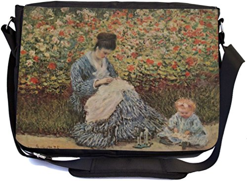 Rikki Knight Claude Monet Art Madame Monet and Child Design Multifunctional Messenger Bag - School Bag - Laptop Bag - with Padded Insert for School or Work - Includes Matching Compact Mirror