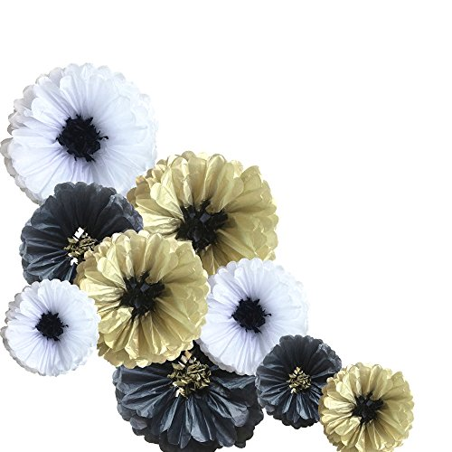 Fonder Mols Paper Flowers Decorations for Wall, Large Tissue Flowers Pom Poms Set for Wedding Nursery Wall Backdrop Centerpiece Decor (Pack of 9, Black Gold (Places To Buy Bachelorette Party Supplies)