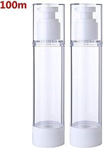 YiZYiF Empty Plastic Pump Press Bottles Refillable Airless Vacuum Travel Lotion Dispenser Makeup Sample Bottles Cosmetic Jars Clear (2Pcs) 100ml