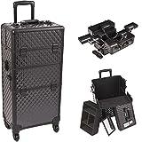 Sunrise I3661DMAB Black Diamond 4 Wheels Professional Rolling Aluminum Cosmetic Makeup Craft Storage Organizer Case and Multiple Expandable Trays