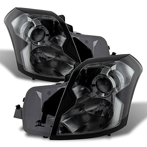 ACANII - For 2003-2007 Cadillac CTS Projector Stock Halogen Smoke Headlights Headlamps Replacement Driver+Passenger Side
