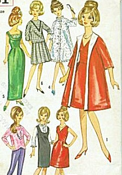 "Simplicity 5731 Barbie Sewing Pattern, Wardrobe for 11 1/2"" Fashion Doll, Such As Tressy or Barbie, 1960s Fashion"