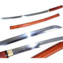 Lyuesword Japanese Handmade Samurai Katana Sword T-10 High Carbon Steel Katana Clay Tempered Full Tang