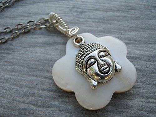 Buddha Mother of Pearl Necklace, Wire Wrapped Shell Pendant, Antiqued Silver Tone, Spiritual Necklace, Handmade in USA