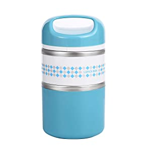 2 Layers Stainless Steel Lunch Containers with Handle, Insulated Lunch Box Stay Hot 3h, Leak-proof Food Containers for Adults, Teens, Work, School - 42 oz, Blue