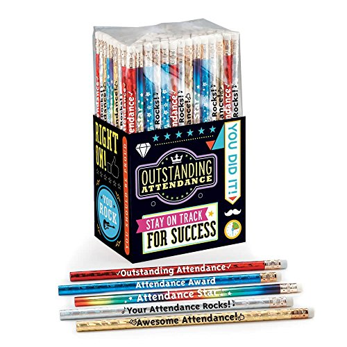 Outstanding Attendance 150-Piece Award Pencil Collection- Includes 6 Different Designs Displaying Positive Messages ()