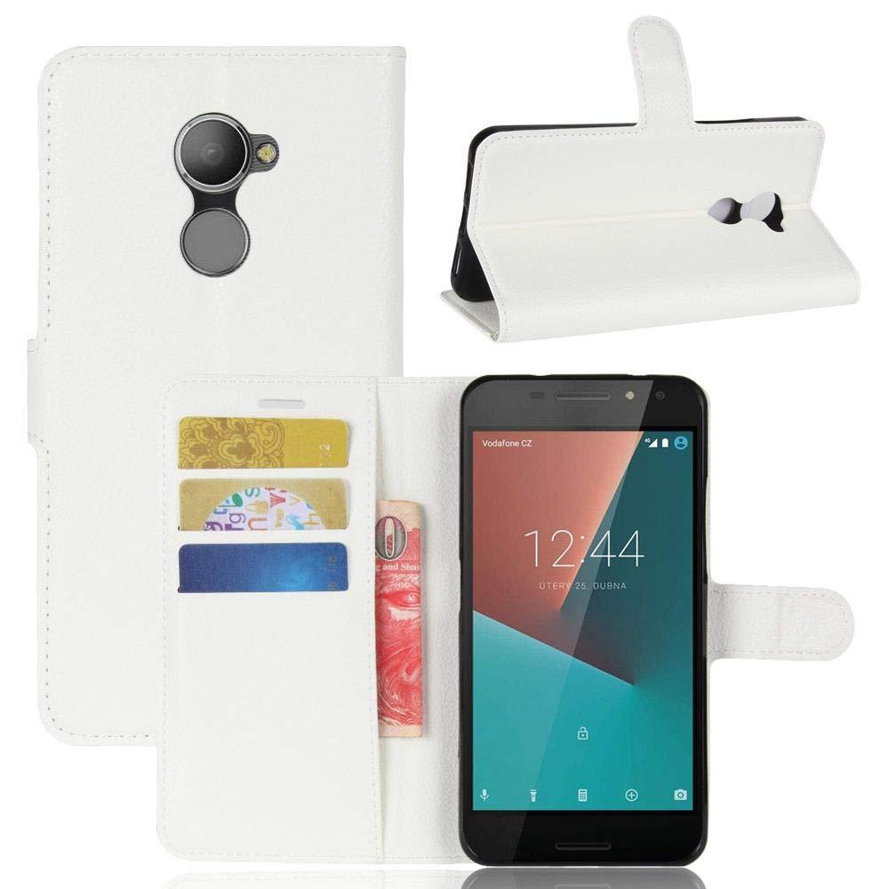 Sangrl Funda para Vodafone Smart N8, Billetera Funda Piel PU Flip Folio Carcasa para Vodafone Smart N8, Soporte Plegable - Blanco