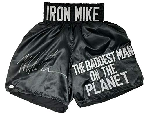 Mike Tyson Signed Custom Black The Baddest Man On The Planet Boxing Trunks - JSA Certified - Autographed Boxing Robes and Trunks Autographed Custom Boxing Trunks