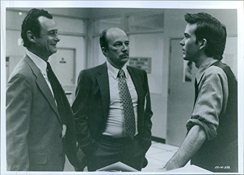 """Vintage photo of Jerry Hardin, Macon McCalman, and Timothy Hutton in a panorama from the 1985 spy film, """"The Falcon and the Snowman""""."""