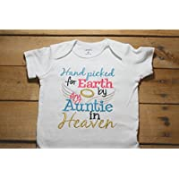 Embroidered Bodysuit Handpicked for Earth by my Auntie in Heaven Baby Shower Gift Pink Hand Picked Bodysuit Blue My