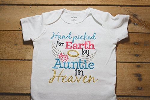 Embroidered Bodysuit Handpicked for Earth by my Auntie in Heaven Baby Shower Gift Pink Hand Picked Bodysuit Blue My by Seaux Sweet Embroidery