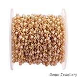 Gems-World Jewelry Mystic Peach Moonstone Rosary Gemstone Chain, 3-4 mm Rondelle Beads, Gold Plated Bead Chain, Wire Wrapped Rosary Chain. (HRCG-39)