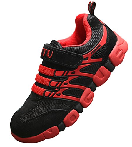 DADAWEN Boy's Girl's Athletic Strap Breathable Running Shoes Casual Sneakers (Toddler/Little Kid/Big Kid) Black/Red US Size 7.5 M Toddler/EU Size ()
