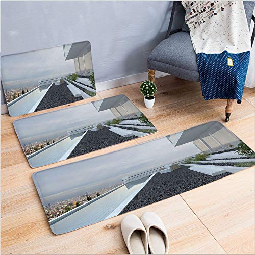 "3 Piece Non-Slip Doormat 3d print for Door mat living room kitchen absorbent kitchen mat,House with Panoramic View Patio Pebbles Pool,15.7""x23.6""by23.6""x35.4""by27.5""x55.1"",coffee table carpet window M"