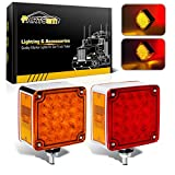 Partsam 2pcs Square Dual Double Face Fender Stop Turn Signal Tail 52 LED Amber/Red Truck Trailer Stud Pedestal Lights w/Chrome Housing Waterproof Kenworth Peterbilt Freightliner Western Star Volvo