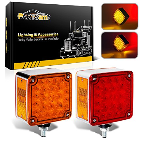 Partsam 2pcs Square Dual Double Face Fender Stop Turn Signal Tail 52 LED Amber/Red Truck Trailer Stud Pedestal Lights Waterproof Replacement for Volvo Kenworth Peterbilt Freightliner Western Star