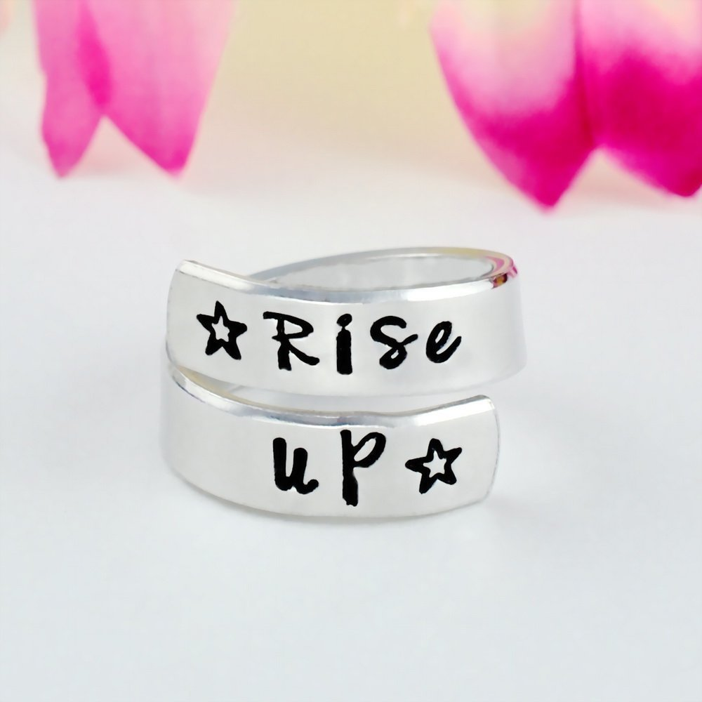 Rise Up - Hand Stamped Aluminum Spiral Wrap Twist Ring, Alexander Hamilton Musical Inspired Star Gift, Inspiration Motivation Jewelry