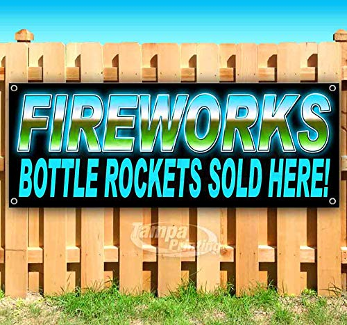 Fireworks Bottle Rockets BL 13 oz Heavy Duty Vinyl Banner Sign with Metal Grommets, New, Store, Advertising, Flag, (Many Sizes Available)