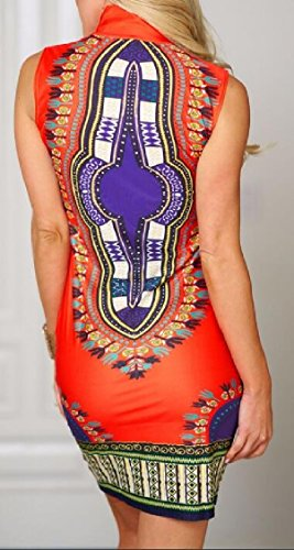 Jaycargogo Femmes Africaines Impression Robe Sans Manches Bohême Décontractée Jambe Droite Mini-robes 1
