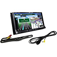 Package: JVC KW-NT810HDT 7 Double DIN Car GPS Navigation DVD Receiver + JVC KS-U49 USB Audio/Video Cable for iPod and iPhone 4/4s30 Pin To JVC Car Multimedia + Rockville RBC5B Black Rearview Backup License Plate Bar Camera