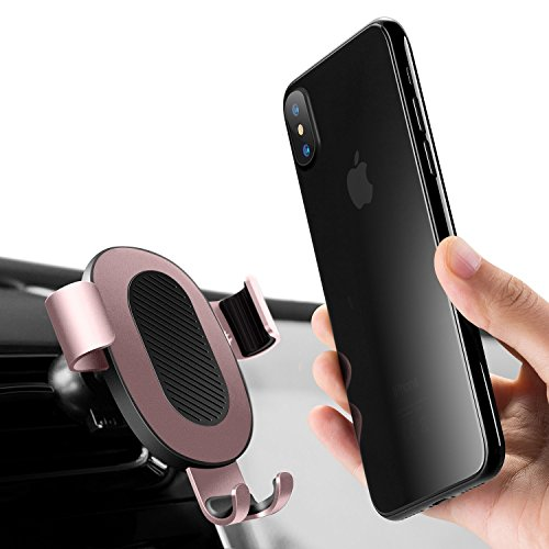 Car Phone Holder, Humixx Gravity Car Mount Air Vent Sensing Gravity Linkage Auto Lock Holder Smart One-hand Operating for iPhone X/8/7/6s/Plus, Samsung S8/S7/S6/Note and More[Wings Series]-Rose Gold