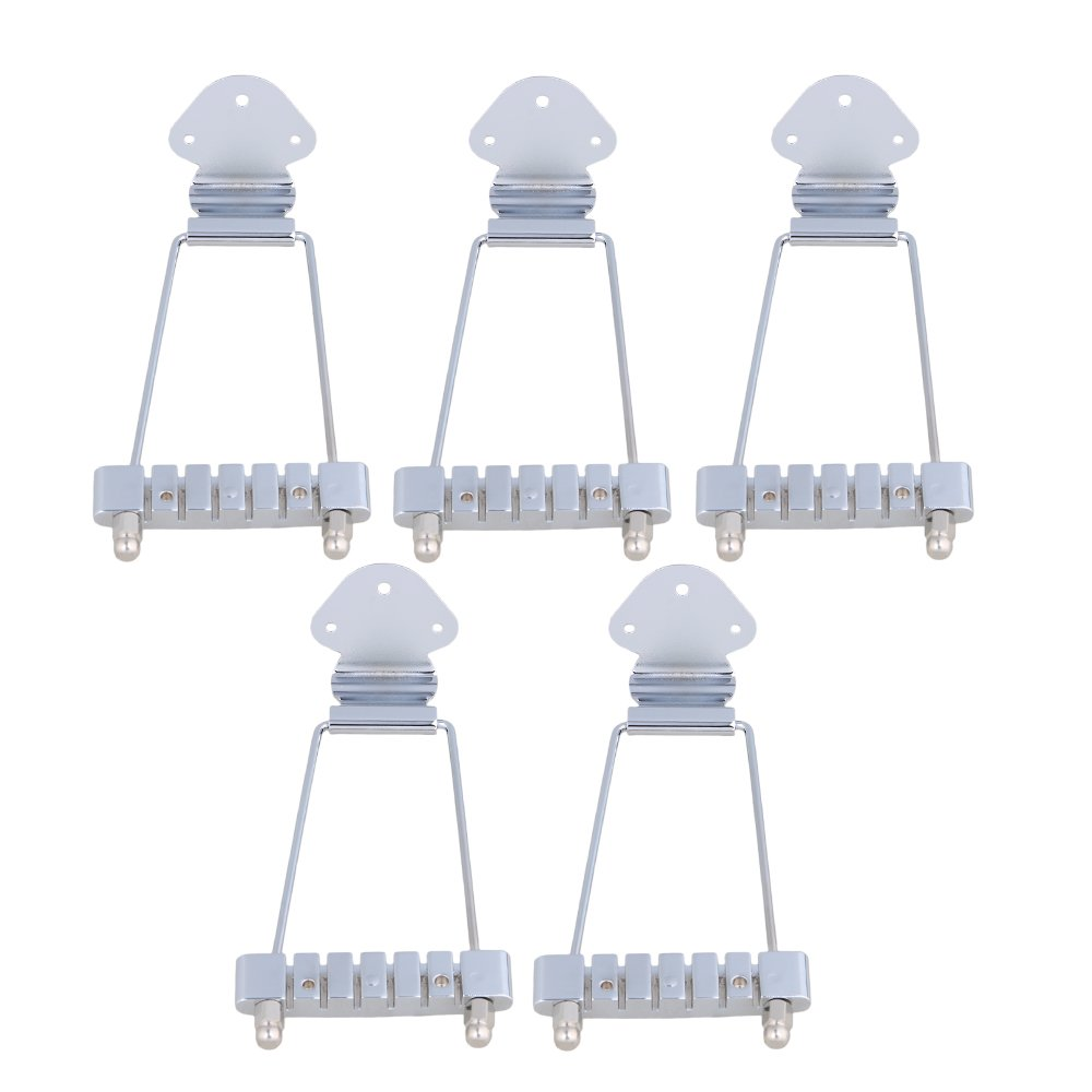 Mxfans Chrome 10mm Spacing 6-String Electric Guitar Tailpiece Bridge Set of 5
