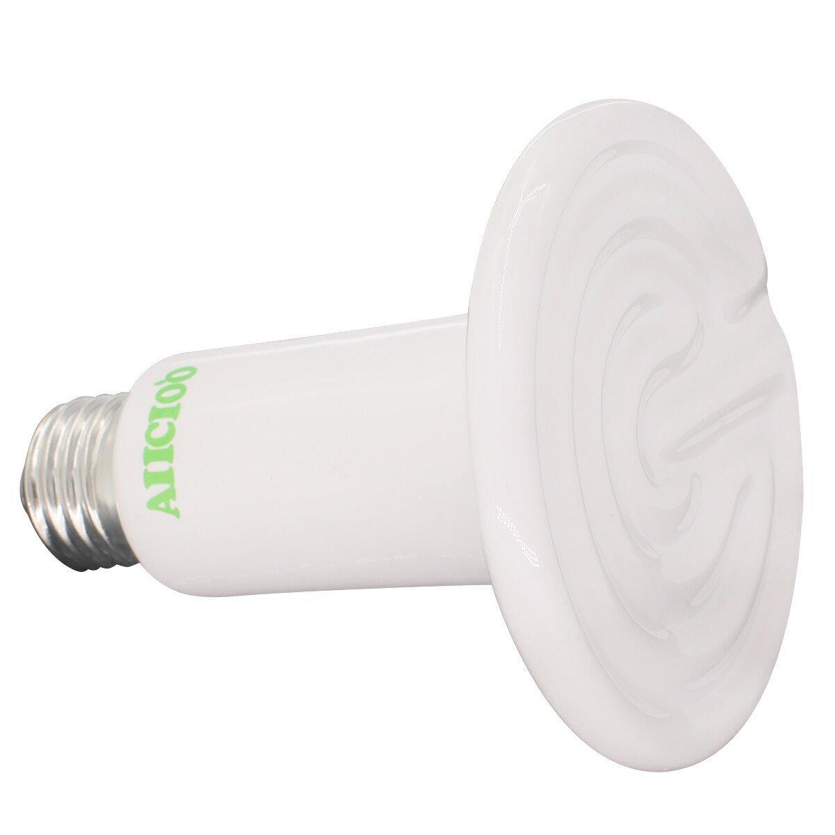 Aiicioo 110v 150 Watt Reptile Ceramic Infrared Heat Emitter Brooder Heater Lamp Bulb - White