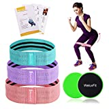 WeluvFit Booty Resistance Workout Hip Exercise Bands Set and Core Sliders- Fabric Fitness Loop Circle for Abs, Squats, Legs, Butt - Thigh and Wide - Travel Pouch, Training and Recipe Booklet Included