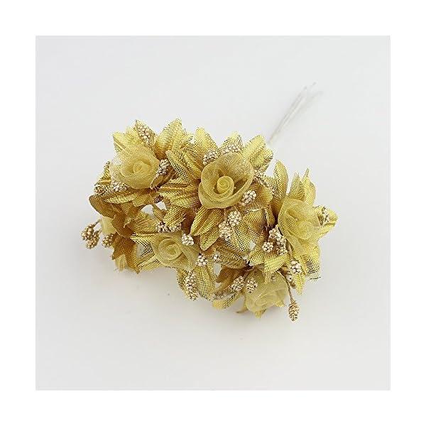 YYU DIY Artificial Flower Roses Wedding Decoration Decorative Festive Decoration Home Decorative Spray Gold Powder Bouquet 30PCS 4CM (gold3)
