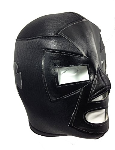 [ESPANTO Adult Lucha Libre Wrestling Mask (pro-fit) Costume Wear - Black] (Wwe Wrestling Costumes For Adults)