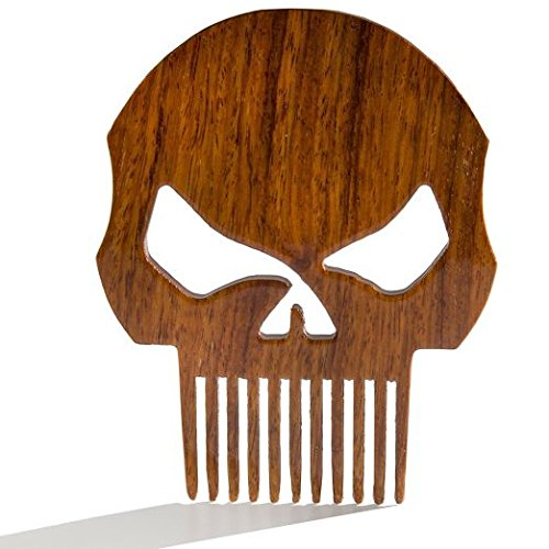 BEARD GAINS Wooden Pocket Beard Comb Punisher Skull Patented Fine Tooth Shaping Tool   Shape, Style & Groom Facial Hairs   MADE IN USA