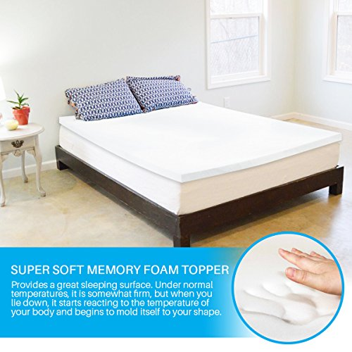 Memory Foam Mattress Topper King   Made In The USA, CertiPUR-US Certified 2 Inch Bed Toppers King Size, Premium Medium-Soft Foam Mattress Topper King, King Mattress Topper with 3 Year Warranty