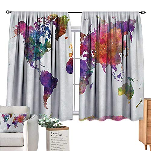 Unprecall Watercolor Blackout Curtain Multicolored Hand Drawn World Map Asia Europe Africa America Geography Print Multicolor Curtain Valance W63 x L63