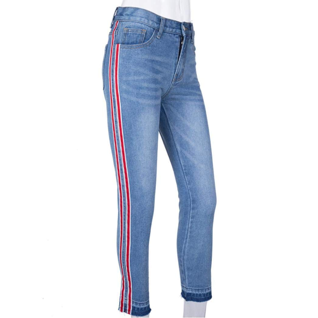 Xchenda Daily Party Women Mid Waist Jeans Side Striped Zipper Fly Ankle-Length Pants Stretch Slim Trousers (M, Blue)