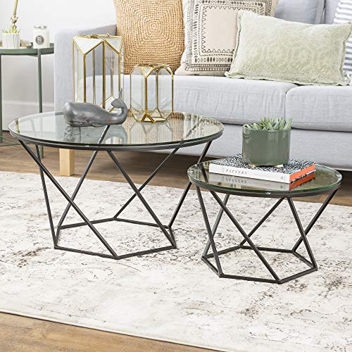 WE Furniture Geometric Glass Nesting Coffee Tables - Black,...