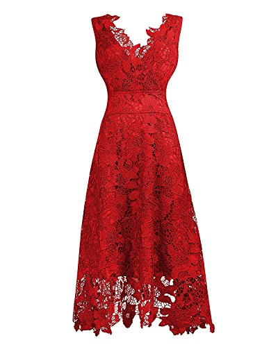 KIMILILY Women's V neck Elengant Floral Lace Swing Bridesmaid Dress(R,M)
