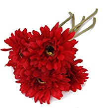 Pixnor 5x Artificial Gerbera Daisy Flowers Heads for Wedding Party (Red)