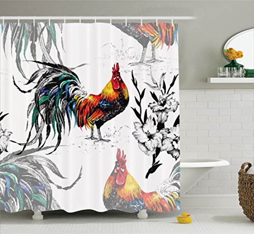 Rooster Silhouette (Ambesonne Gallos Decor Collection, Roosters Crowing Sound Silhouettes and Flowers Insect Butterfly Standing Plumage Art, Polyester Fabric Bathroom Shower Curtain Set with Hooks, Yellow Teal Blue)