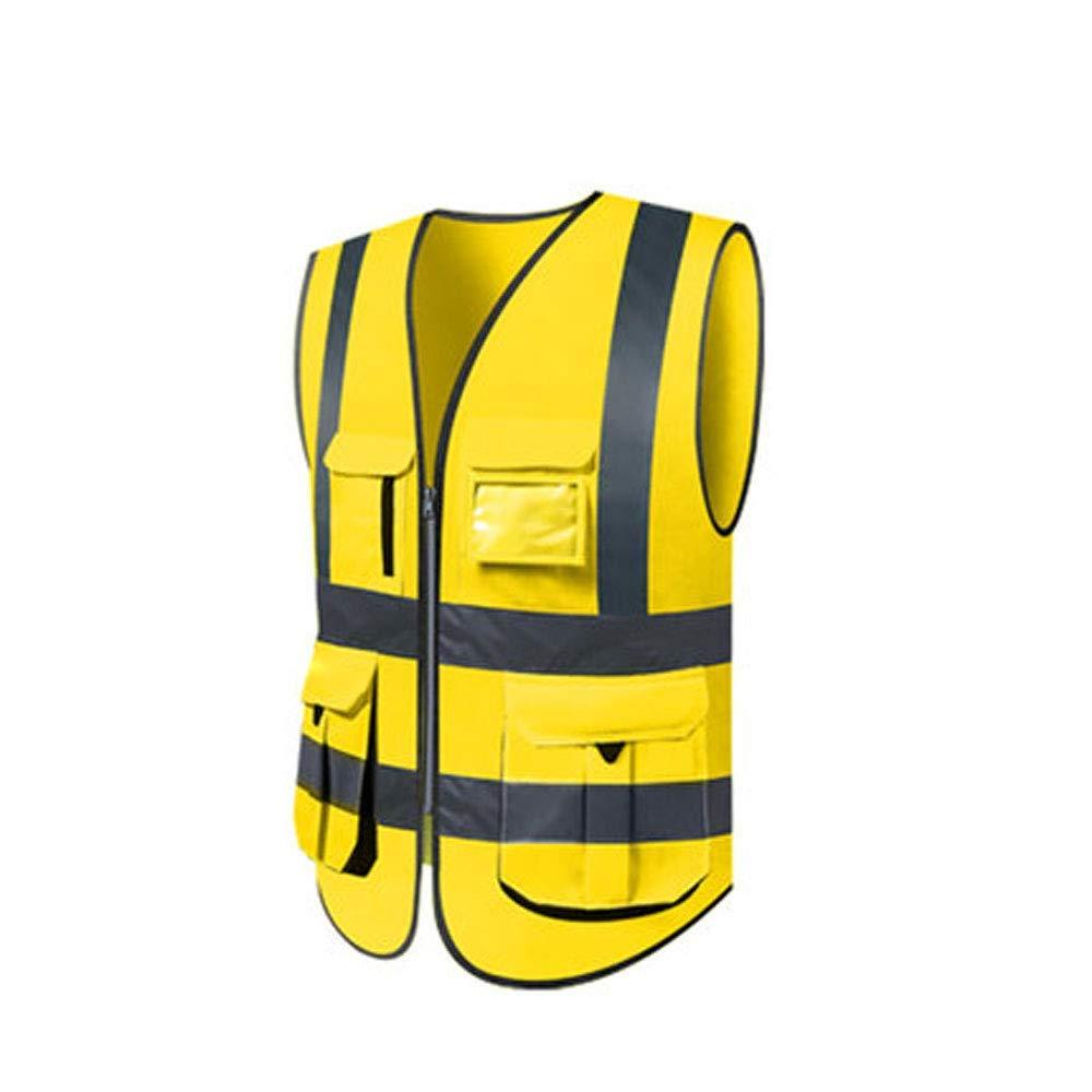 golden Yellow 1 piece Reflective Vest, Reflective Vest Vest Sanitation Worker Clothes Traffic Fluorescent Suit Yellow Vest Riding Reflective Clothing Male (color   orange, Size   1 Piece)