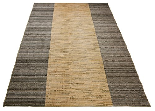 Nature Inspired Printed Area Rug Slip Resistant TPR Rubber Back Exotic Patterns (Jute Beige Taupe, 4'11